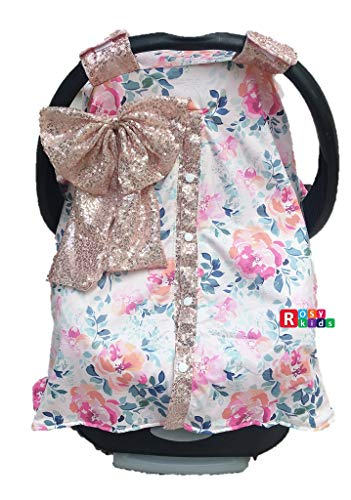 51Z%2BfJn4ZoL - Rosy Kids Infant Carseat Canopy Cover 1pc Wind Proof Baby Car Seat Cover, Sunshade Cover, Fits Any Model, Color25OR02