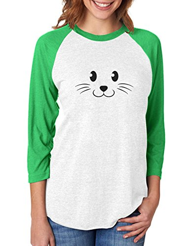 [Cute Face Halloween Easy Costume 3/4 Women Sleeve Baseball Jersey Shirt XX-Large green/white] (Easy Cute Teenage Halloween Costumes)