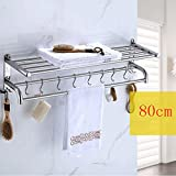YXN 304 stainless steel thickened base towel bar towel rack bathroom shelf bathroom hardware accessories (Size : 80cm)