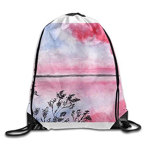 ZMLSJY Drawstring Bag Lake With Clouds Polyester Fabric Backpack For Men Women School by ZMLSJY