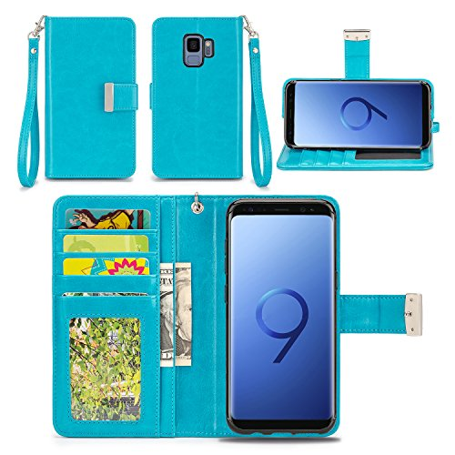 Samsung Galaxy S9 Case - IZENGATE [Classic Series] Wallet Cover PU Leather Flip Folio with Stand (Turquoise Blue)
