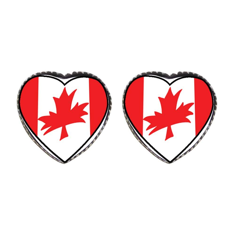 GiftJewelryShop Bronze Retro Style Canada Flag Photo Stud Heart Earrings #12