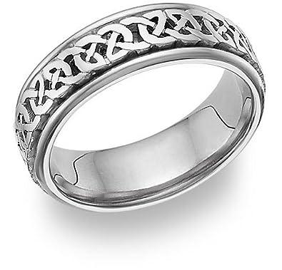 Celtic Knot Wedding Band Ring, 14K White Gold | Amazon.com