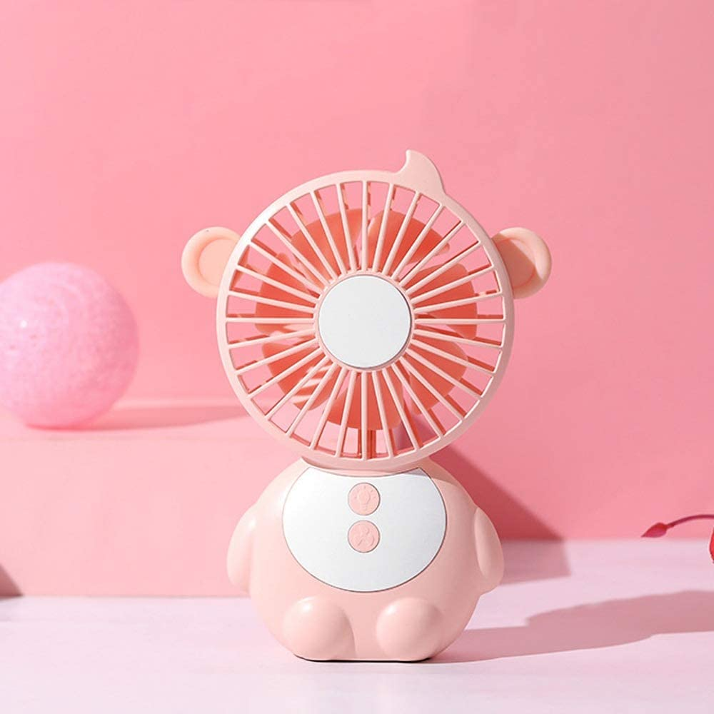 Color : Pink, Size : One Size Jajx-comac USB Personal Desk Fan Monkey Table Lamp Mini Handheld Portable Desktop Table Fan with LED Night Light for Office Household for Home Office Table