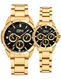 His and Hers Gifts Luxury Gold Stainless Steel Quartz Watches for Couples