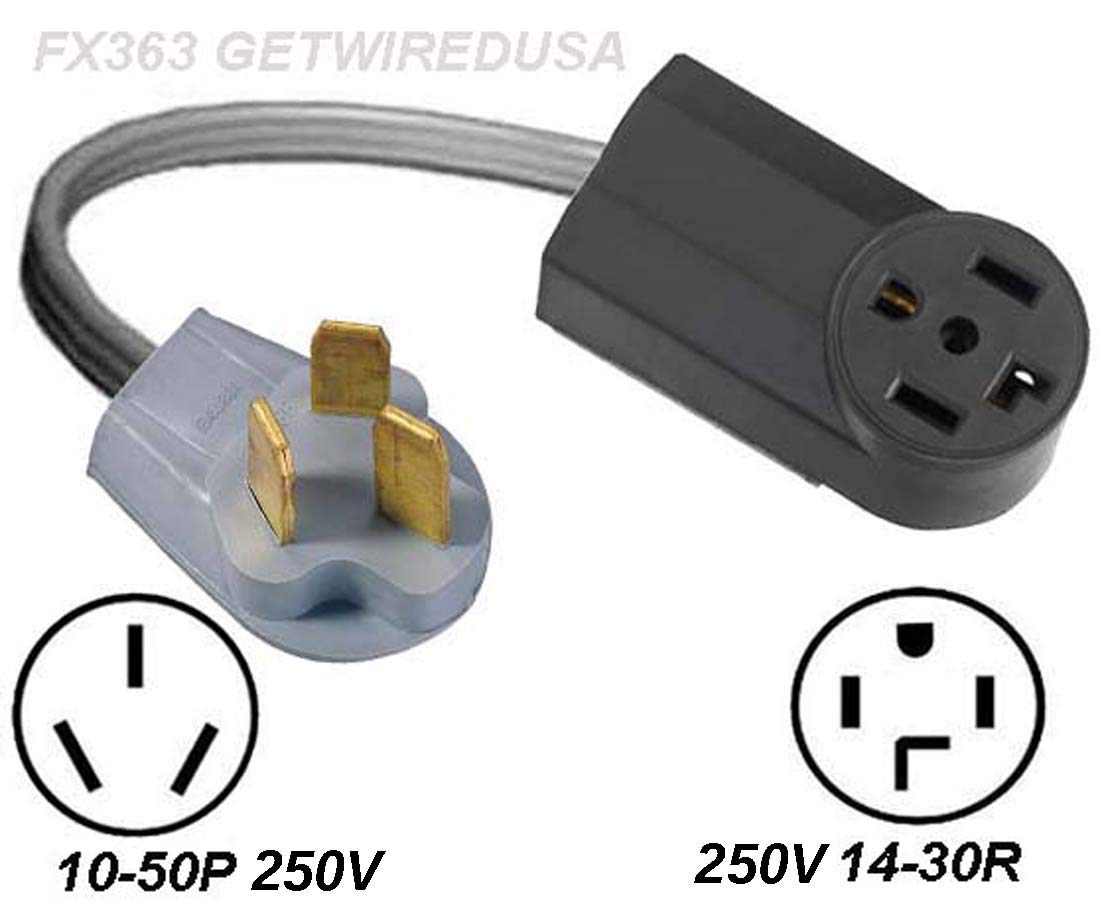 New 14-30R 4-Pin Female Dryer Receptacle Socket To Old 10-50P Stove Range Oven 3-Prong Male Plug, Cord Converter, Electric Power Outlet Adapter, NEMA by getwiredusa