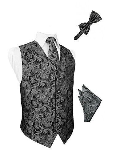 Silver Tapestry Satin Tuxedo Vest with Long Tie Bowtie and Pocket Square Set