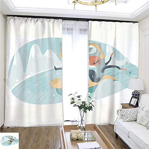 Children Curtain Fun monste goes Down The Snowy Hill on sled W96 x L144 Eliminate The Turf Highprecision Curtains for bedrooms Living Rooms Kitchens etc.