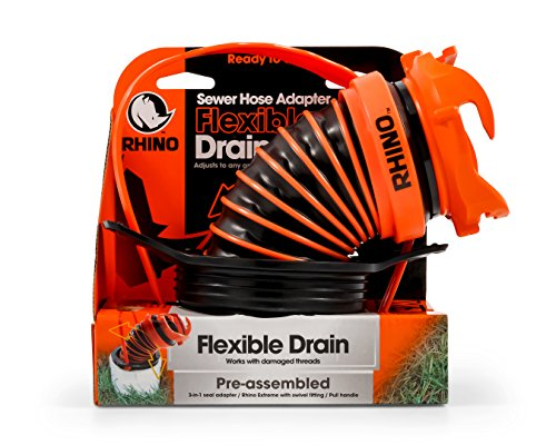 (Camco 39319 Flexible 3-in-1 Sewer Hose Seal with RhinoExtreme Hose and Handle- Flexible Fitting Makes Connection to a Sewer Inlet Simple and Less Hands On!)