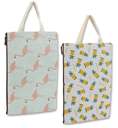 Multifunctional Canvas File Folder - 2 Pack of Laptop Briefcase Portable Holder or A4 Document Paper Organizer Portfolio Bag with Zipper in Pink Flamingo and Pineapple Pattern Design (Presentation Recycled Binder)