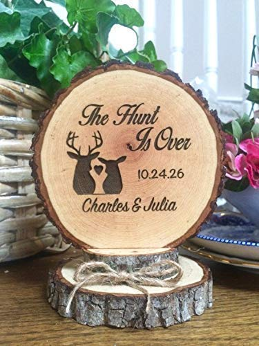 The Hunt Is Over Wedding Cake Topper, Engraved Marriage Decor for $<!--$36.50-->