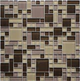 Cassava Root (GP03) Brown Beige Purple Blend Glass Backsplash Tiles for Kitchen Bathroom Wall Puzzle Mosaic Design (1 Box / 11 Sheets)