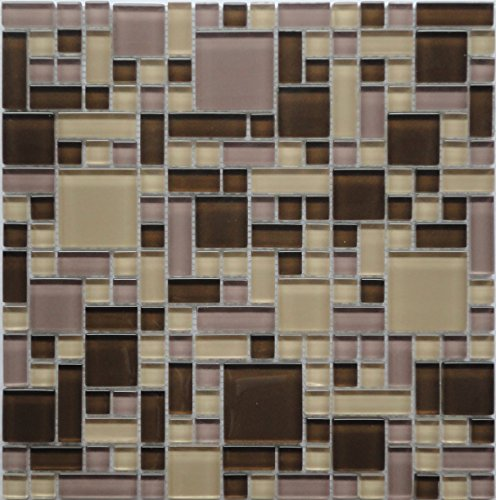 Cassava Root (GP03) Brown Beige Purple Blend Glass Backsplash Tiles for Kitchen Bathroom Wall Puzzle Mosaic Design (1 Box / 11 Sheets) by LADA Mosaic Tiles
