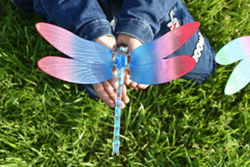 (FENDISI Dragonfly Outdoor Decor Decorative Garden Stakes Lawn Ornaments Patio Decoration Yard Accessories 3D Plastic Art Whimsical Dragons (Pack of 4))