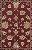 2' x 3' French Classic Ruby Red and Moth Beige Wool Area Throw Rug