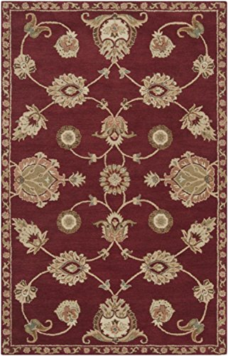 2' x 3' French Classic Ruby Red and Moth Beige Wool Area Throw Rug by Diva At Home