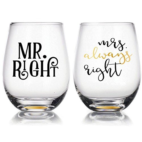 ''Mr Right & Mrs Always Right'' - 22oz Stemless Wine Glasses Set of 2, Gift for Wedding Married Couple, for Engagement Gifts by ArchKitchen