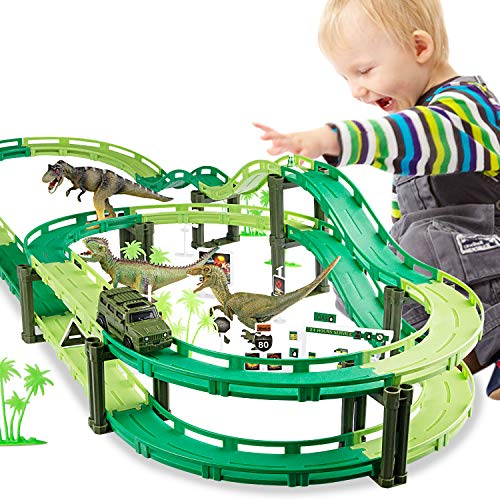 (Tencoz Dinosaur Train Track, Race Track Dinosaur Toy Race Car Flexible Tracks with 1 Car and 3 Dinosaurs Toys for Girls Boys Christmas & Birthday Gift (50 pcs))