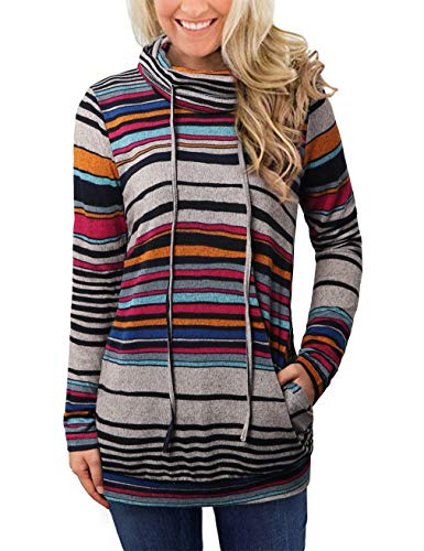 EMVANV Striped Long Sleeve Tops Pullover Sweatshirt,Casual Cowl Neck Sweatshirts with Pockets for Women (Gray Blue Strip, Medium)
