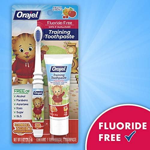 51Z%2Bgr09P7L. AC - Orajel Daniel Tiger's Neighborhood Fluoride-Free Training Toothpaste & Toothbrush Combo Pack, Fruity Stripes, 1.0oz