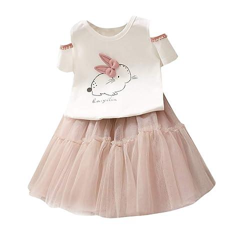 Feixiang Bebé niña Conejito de Dibujos Animados Camiseta Conejito Top Princesa Tutu Vestido Conjunto niña Vestido