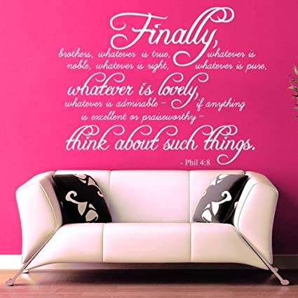 Amazon.com: Wall Decals Quotes Bible Verse Psalm Philippians 4:8 ...