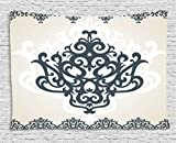 Ambesonne Arabesque Tapestry by, Middle Eastern Islamic Motif with Arabic Effects Filigree Swirled Artsy Print, Wall Hanging for Bedroom Living Room Dorm, 60WX40L Inches, Pearl Grey