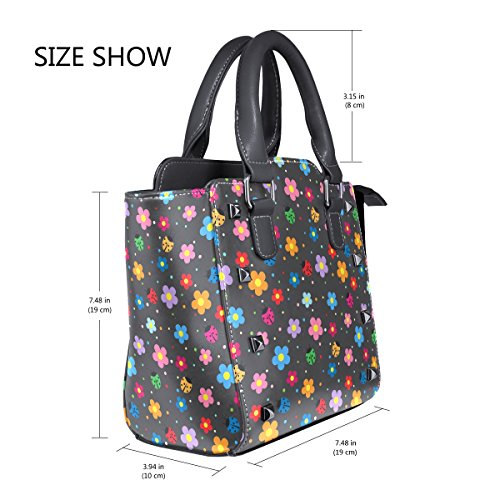 Bags Shoulder Ladybugs TIZORAX Handbags Women's And Flowers Leather Tote 07Ydq7w