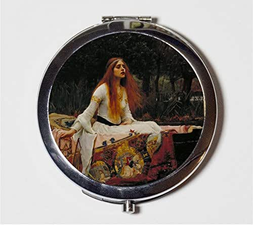 John William Waterhouse Compact Mirror The Lady of Shalott Alfred Lord Tennyson Poem Make Up Pocket Mirror for Cosmetics