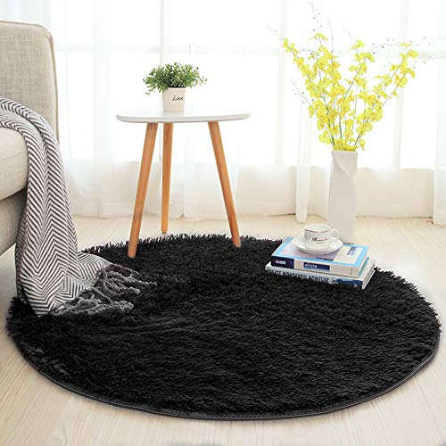 SANMU Soft Round Rug,Fluffy Silky Carpet Fashion Color Smooth Bedroom Mats Round Shag Floor Pad for Girls Bedroom Decorate and Indoor Use,4 Feet,Black by Softlife (Image #1)