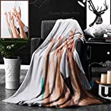 Ralahome Unique Custom Double Sides Print Flannel Blankets Row Of Multiethnic College Students Raising Hands In Classroom Super Soft Blanketry for Bed Couch, Twin Size 60 x 80 Inches