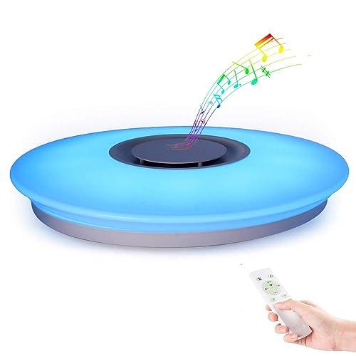 HOREVO Plafón LED Lámpara de Techo con Altavoz Bluetooth 24W 1800 Lúa Menes 6500K Cool Blanco Calido Ajustable Luz de Colores APP Mando a Distanci Certificado CE