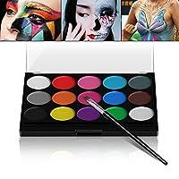 Maquillage Enfant, Xpassion Maquillage de Fête Non-Toxiques 15 Couleurs avec Pinceau pour Halloween Parade Party Déguisements, Kits de Body Painting