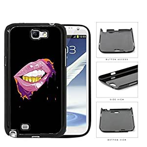 Pink Lips And Gold Grill Thuggin Hard Plastic Snap On Cell Phone Case Samsung Galaxy Note 2 II N7100