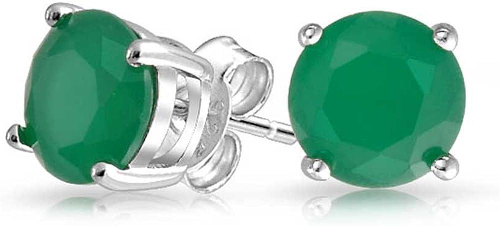 1Ct Ronda Verde Brillante Solitario AAA CZ Pendiente De Boton Para Mujer La Plata Esterlina 925 Jade Simulado 7Mm