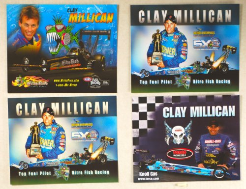 (2006/07/08 - NHRA - Clay Millican - Top Fuel Dragster - Nitro Fish Racing/Werner Ent/Torco Racing Fuels / 5X Champion - 4 Promo Cards - Out of Print - Collectible)