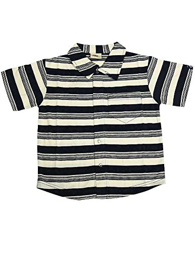 Dogwood Clothing - Little Boys Striped Short Sleeve Shirt With Collar, Navy, Cream 11592-4