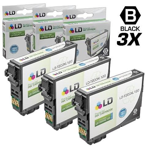 LD Remanufactured 200 / 200XL / T200XL120 Set of 3 High-Yield Black Ink Cartridges for Expression XP-200, XP300, XP-310, XP-400, XP-410 & WorkForce WF-2520, WF-2530, (Black Ink Epson 200xl)