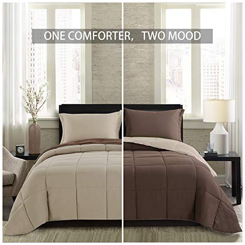 Homelike Moment Lightweight Comforter Set - Queen Brown Beige All Season Down Alternative Comforter Set Summer Duvet Insert 3 Piece - 1 Comforter with 2 Shams Reversible Full/Queen Size Brown/Beige ()
