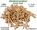 Yaegoo 1,000 Premium Bamboo Golf Tees 2-3/4 inch length - Eco-Friendly - 7x Stronger than Wood Tees
