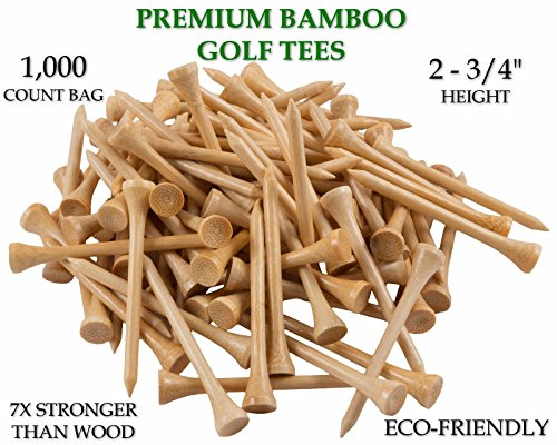 Yaegoo 1,000 Premium Bamboo Golf Tees 2-3/4 inch length - Eco-Friendly - 7x Stronger than Wood (Eco Friendly Golf Tees)