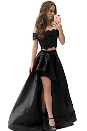 184febfd245 Ruisha Women Lace Beaded Off Shoulder Two Piece Prom Dresses Long Formal  Evening Party Gown RS0164