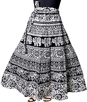 Modern Kart Women's Cotton Wrap Around Round Skirt (MKSKT066, Black, Free Size)