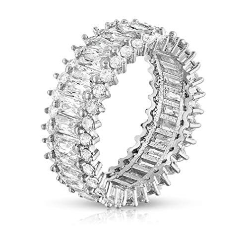 Verona Jewelers Womens White Gold Plated Lustrous Eternity Band- Rotating with Beautiful Lustrous Cubic Zirconia ()