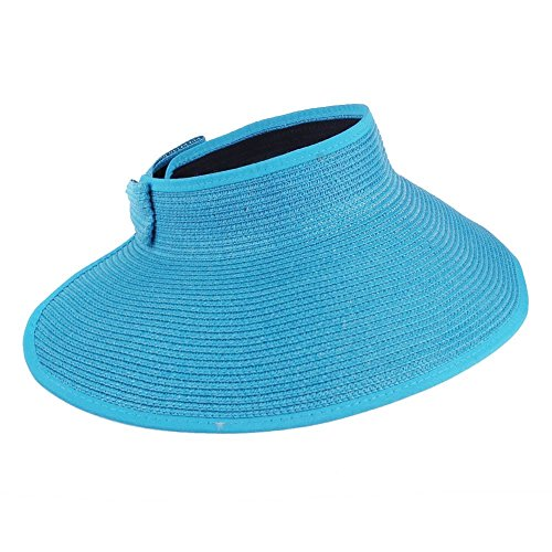 Fashion Women Visor Cap,FuzzyGreen Summer Packable Crushable Roll Up Wide Brim Sun Protection Holiday Travel Beach Straw Hat for Women Lady Girls (Sky Blue)