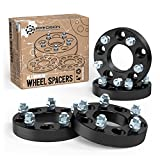 4pc 1.25'' Thick 5x108 to 5x114.3 Wheel Adapters (CHANGES BOLT PATTERN) with 12x1.5 Studs for Ford Taurus Thunderbird, Jaguar S XK XKR, Lincoln Continental, many Volvo (5x4.25 to 5x4.5 Black Spacers)