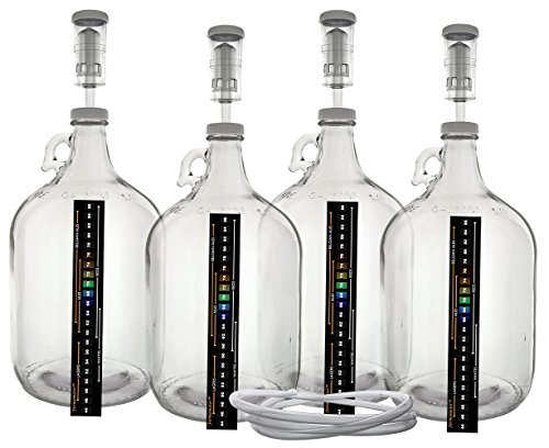 Pack of Four 1 Gallon Glass Jugs with Lids, Airlocks, Thermometers & Blow (Cider Jug)
