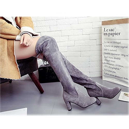 Heeled BERTERI Warm Grey Red Over Winter Grey Women's Black Knee Brown High Boot Z6fF4ZY