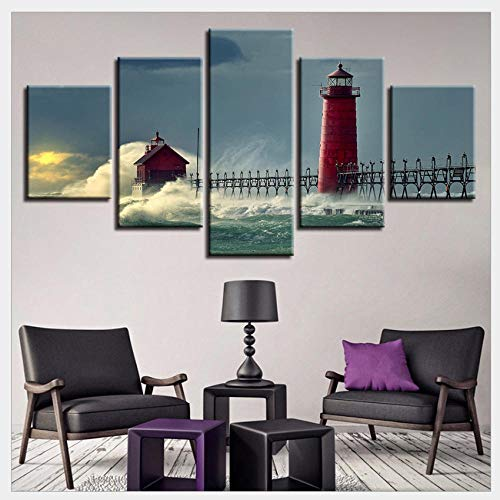 WSTDSM Modern Printed Canvas Wall Art - 5 Light Waves in The Waves Print on The Canvas - Bedroom Living Room Home Decor Pendant HD Poster, No Frame / 30x40x2 30x60x2 30x80cmx1 (Bar Lightwave 4)