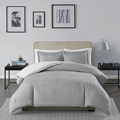 Madison Park Essentials Hayden Reversible Stripes – 3 Piece Teen Set – Ultra Soft Microfiber Bed Comforters, King/Cal King, Grey: Home & Kitchen